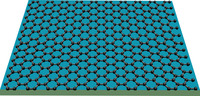 Graphene consists of carbon atoms only one atomic layer thick, with the unique characteristic that its electrons behave as if they have zero mass. Image credit: Lau lab, UC Riverside.