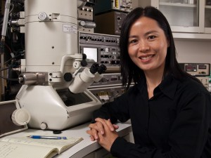 Haimei Zheng is a chemist in the research group of Paul Alivisatos who was the lead author on a Science paper that reports the first ever direct observations in real-time of the growth of single nanocrystals in solution. (Photo by Majed Abolfazli)