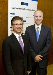 UCLA Executive Vice Chancellor Scott Waugh (right) welcomes new CNSI director Paul S. Weiss.