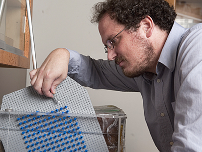 German Drazer, assistant professor of chemical and biomolecular engineering, prepares to use a LEGO board to study the way particles behave in a microfluidic device to re-create microscopic activity taking place inside lab-on-a-chip devices at a scale they can more easily observe.