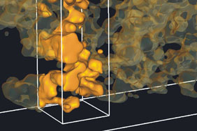 3D Electron tomography image of a polymer-metal oxide solar cell. The 3D nanoscopic morphology shows the interpenetrating metal oxide network in (yellow) inside a polymer matrix (black).