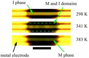These optical images of a multiple-domain vanadium oxide microwire taken at various temperatures show pure insulating (top) and pure metallic (bottom) phases and co-existing metallic/insulating phases (middle) as a result of strain engineering. (Image from Junqiao Wu)