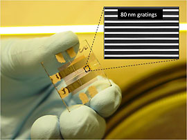A researcher holds a sample of prototyped solar cells. The inset is an electron micrograph of the nanostructures.