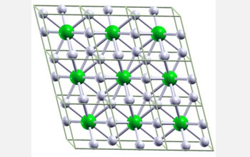 Ball-and-stick image of hypothetical metallic crystal cells composed of one lithium, or Li, atom and six hydrogen, or H, atoms. The lithium-hydrogen compound is predicted to form under approximately 1 million atmospheres, which is one-fourth the amount of pressure required to metalize pure hydrogen. The pressure at sea level is one atmosphere and the pressure at the center of the Earth is around 3.5 million atmospheres. Li atoms are green and H atoms are white.