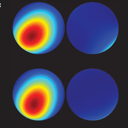 This image shows the kind of pictures Jessen�s team produces with tomography. The top two spheres are from a selected experimental snapshot taken after 40 cycles of changing the direction of the axis of spin of a cesium atom, the quantum �spinning top.� The two spheres below are theoretical models that agree remarkably with the experimental results. (Image: Poul Jessen)