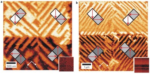 Manipulation of the polarization in nanostructures. In Figure a, the researchers created an artificial star; in Figure b there is a diamond pattern.