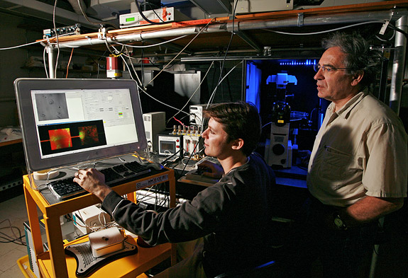 Guillaume Lambert (left), a physics graduate student at Princeton, and Robert Austin, principal investigator of the new Princeton Physical Sciences-Oncology Center and physics professor, observe prostate cancer cells growing on a microhabitat in Jadwin Hall. With their collaborators, the scientists are developing devices and technologies that will allow them to control a wide range of variables in an effort to understand how cancer evolves. The entire experimental setup will be controllable via the Web, enabling their colleagues at peer institutions to conduct experiments remotely. (Photo: Denise Applewhite)