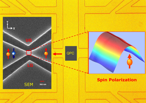 Layout of the quantum point contact spin polarizer device.
