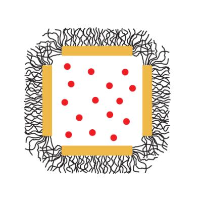 Attach a smart polymer to your gold nanocage, seen here in cross section with the pores at the corners. To load the cages, shake them in a solution of the drug at a temperature above the polymer's critical temperature. Let the cages cool, so that the polymer chains stand up like brushes, sealing the cage's pores. To release the drug, expose the cages to laser light (the lightning bolt) at their resonant frequency, heating them just enough to drive the polymer over its critical temperature. The polymer chains will collapse, opening the pores, and releasing the drug. The cage can be resealed simply by turning off the light.