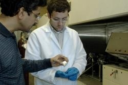 Dr. Apparao Rao and graduate student Jason Reppert assess the outcome of a nanotube synthesis procedure.  image by: Clemson University