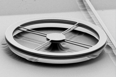 Scanning electron micrograph of two thin, flat rings of silicon nitride, each 190 nanometers thick and mounted a millionth of a meter apart. Light is fed into the ring resonators from the straight waveguide at the right. Under the right conditions optical forces between the two rings are enough to bend the thin spokes and pull the rings toward one another, changing their resonances enough to act as an optical switch.