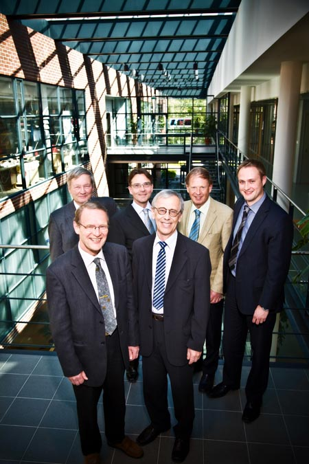 Picosun Board of Directors, from left: Prof., Ph.D Tech. Lauri Niinist�, one of the key persons in developing Atomic Layer Deposition processes and applications in Academia since late 1970s; (Left front row) Ph.D. Tech. Tuomo Suntola, the inventor of ALD method; Picosun President and CEO, M. Econ. Kustaa Poutiainen; Picosun CTO, Mr. Sven Lindfors, designer of ALD systems since 1975; Prof., Ph.D Jorma Routti, one of the founders of Finnish venture capital and one of Europe's leading technology experts; former Director General of the Research Directorate of the European Union. Furthest right: Picosun Managing Director, M. Sc. Juhana Kostamo.