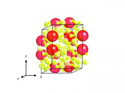 This schematic shows the structure of the new material, Xe(H2)7. Freely rotating hydrogen molecules (red dumbbells) surround xenon atoms (yellow).