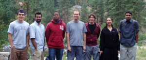 REU student Kayode Sanni, 3rd from left, traveled with PI assistant prof. Jeff Gray, center, and the entire Gray Lab to the RosettaCON 2009 conference in Leavenworth, WA, where Sanni presented his research poster. (Gray Lab/JHU)