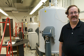 Director of instrumentation Allan Kershaw in a new nuclear magnetic resonance lab in Stabler Hall. 