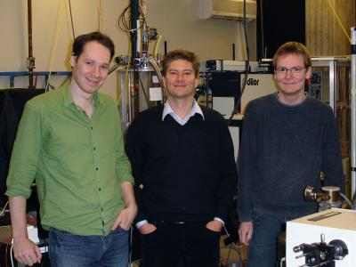 "Technische Universitaet Muenchen biophysicists (left to right) Dr. Pierre Thibault, Professor Dr. Franz Pfeiffer, and Martin Dierolf are co-authors of the PNAS paper, ""Quantitative biological imaging by ptychographic X-ray diffraction microscopy."" They collaborated with colleagues at the University of Goettingen and the Swiss Light Source.