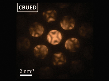 The diffraction obtained for silicon with 4D electron microscopy. From the patterns the structure can be determined on the nanoscale. [Credit: AAAS/Science/Zewail/Caltech]