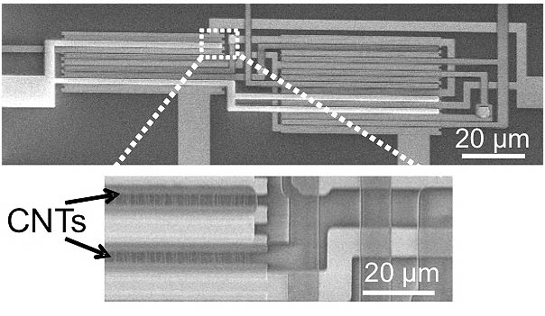 An electron microscope image showing carbon nanotube transistors (CNTs) arranged in an integrated logic circuit.