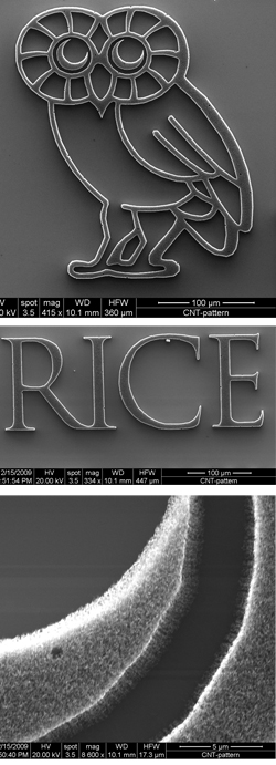 Graduate students Jun Yao and Noe Alvarez grew millions of carbon nanotubes to produce the Rice Owl and wordmark, seen through an electron scanning microscope. The bottom photo shows the forest of tubes that make up the owl's eye. PHOTOS BY JUN YAO, NOE ALVAREZ