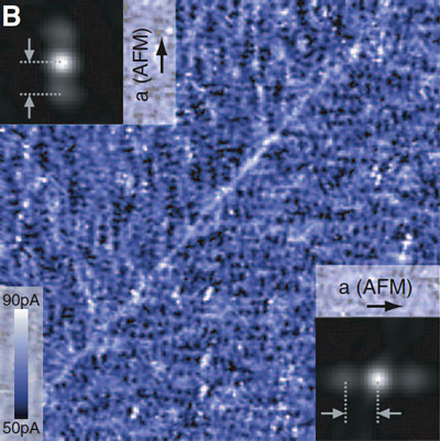 STM scan showing a 96-nanometer square of an iron-based superconductor shows electrons lined up in parallel rows suggesting a 'liquid-crystal' state of the electron fluid. The parallel arrangements appear in random domains across the entire crystal, oriented either vertically or horizontally. The diagonal line across this image is the boundary between two domains. The discovery of this arrangement indicates that the mechanism of iron-based superconductors is more complex than previously believed, and may be similar to the mechanism in cuprates.