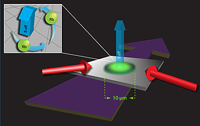 "A pair of laser beams (red arrows) impinges upon an ultracold gas cloud of rubidum atoms (green oval) to create synthetic magnetic fields (labeled Beff). (Inset) The beams, combined with an external magnetic field (not shown) cause the atoms to ""feel"" a rotational force; the swirling atoms create vortices in the gas. Credit: JQI"
