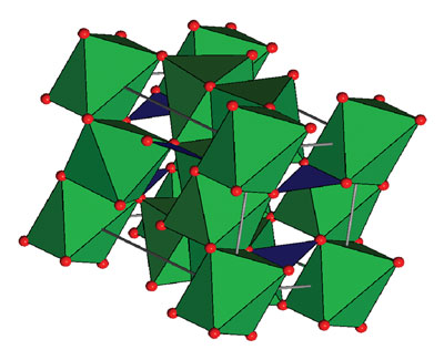 A representation of the mineral kotoite's crystal structure. The oxygen atoms are red, and the magnesium atoms are located at the centers of the green octahedra. The boron atoms are located at the centers of the blue triangles connecting the oxygen atoms. Derek Stewart.
