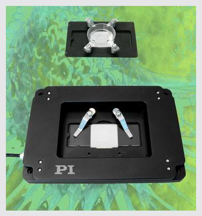 PI nano� Z nanopositioning stages (shown with optional slide and Petri dish holder) feature a very low profile of 20 mm (0.8�), a large aperture and deliver highly accurate motion with sub-nanometer resolution.