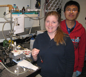 Graduate students Jennifer Hensel and Gongming Wang tested the performance of composite nanomaterials in PEC cells for hydrogen production. Photo by Yat Li.