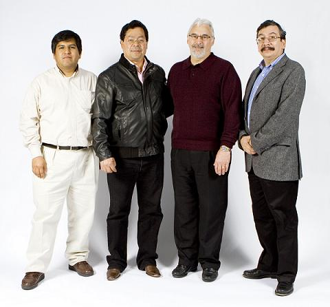 Micra Nanotecnologia representatives pictured left to right:  Miguel Urbano, Roberto Villase�or, John Green (Asylum Research), and Carlos Segovia.