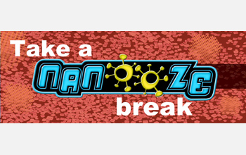 The marquee banner for the Take a Nanooze Break exhibition.  Credit: Carl Batt, Cornell