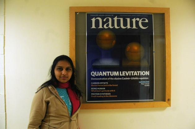 Hamsa Sridhar �12 is conducting research at the School of Engineering and Applied Sciences that seeks to levitate gold-coated micro-particles. The research made the front cover of the journal Nature. By Sirui Li.