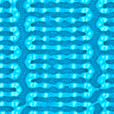 MIT researchers coaxed tiny, chainlike molecules to arrange themselves into complex patterns, like this one, on a silicon chip. Previously, self-assembling molecules have required some kind of template on the chip surface � either a trench etched into the chip, or a pattern created through chemical modification. But the MIT technique instead uses sparse silicon �hitching posts.� The molecules attach themselves to the posts and spontaneously assume the desired patterns. Image: Yeon Sik Jung and Joel Yang