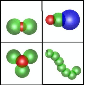 NYU physicists have created �handshaking� particles that link together based on their shape rather than randomly. The graphic shows how the researchers developed a �lock and key� mechanism that allows specific particles to join together. Image courtesy of Nature.