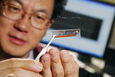 Georgia Tech professor Zhong Lin Wang holds an improved nanogenerator containing 700 rows of nanowire arrays. The generator was used to power nanometer-scale sensors. Credit: Photo: Gary Meek