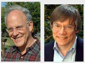 "High-energy physicist David Gross, left, and astrophysicist Alan Guth will bookend the program at the ""Frontiers in Physics"" symposium April 23 presented by The City College of New York Physics Department."