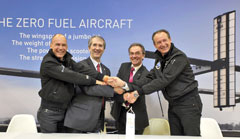 Bayer MaterialScience has become an official partner of the Solar Impulse project � around the world in a solar airplane. From left to right: Bertrand Piccard, Initiator of Solar Impulse, Patrick Thomas, CEO of Bayer MaterialScience, Dr. Hans-Wilhelm Engels, Head of the Innovation Community Council at Bayer MaterialScience and Andr� Borschberg, CEO of Solar Impulse.