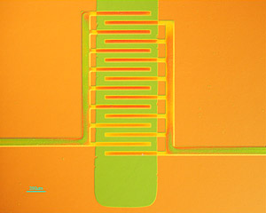 Princeton researchers have developed a new way to manufacture electronic devices made of plastic, employing a process that allows the materials to be formed into useful shapes while maintaining their ability to conduct electricity. In the plastic transistor pictured here, the plastic is molded into interdigitated electrodes (orange) allowing current flow to and from the active channel (green). Image: Loo Research Group