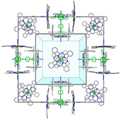 The crystal structure of the nanoporous crystal showing the �molecular wall-tie� ligands (green) binding between the iron centres