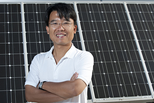 Chih-hung Chang, an associate professor of chemical engineering at Oregon State University, is developing new approaches to solar energy that may dramatically lower their cost while reducing waste and environmental impacts. (Photo courtesy of Oregon State University)