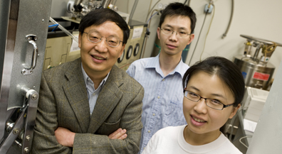 From left, Rice University physicist Rui-Rui Du, graduate students Chi Zhang and Yanhua Dai, and former postdoctoral researcher Tauno Knuuttila (not pictured) have found that odd groupings of ultracold electrons could be useful in making fault-tolerant quantum computers. PHOTO CREDIT: Jeff Fitlow/Rice University