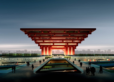 The China Pavilion is illuminated by OSRAM LED in China Red.