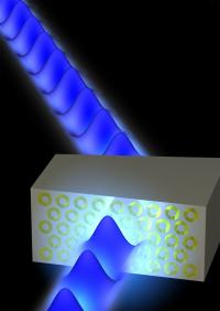 Arrays of coupled plasmonic coaxial waveguides offer a new approach by which to realize negative-index metamaterials that are remarkably insensitive to angle of incidence and polarization in the visible range. Credit: Caltech/Stanley Burgos