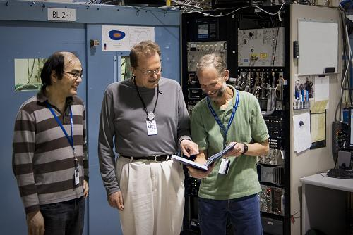 Researchers including Hirohito Ogasawara (left), Anders Nilsson (center), and Mike Toney (right) used SSRL's bright X-ray beam to study a new form of platinum that could be used to make cheaper, more efficient fuel cells. (Photo courtesy Kelen Tuttle)