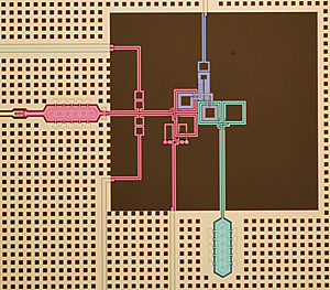 "Colorized micrograph of superconducting circuit used in NIST quantum computing research. The chip combines a quantum bit (pink) for storing quantum information, a quantum bus (green) for transporting information, and a switch (purple) that ""tunes"" interactions between the other two components. Credit: M.S. Allman/NIST"