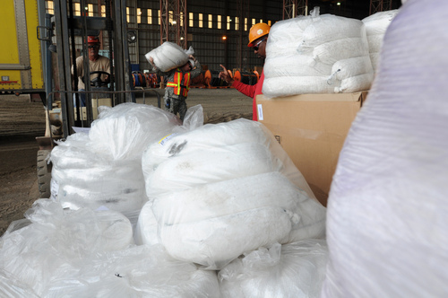 Cotton could be a better absorbent than the oil-containment booms (pictured above) that are currently being used to absorb the oil spilling into the Gulf. Photo courtesy of Deepwater Horizon Response.