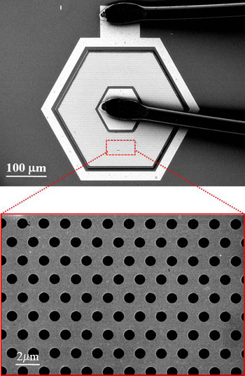 Rensselaer Polytechnic Institute Professor Shan-Yu Lin has developed a new nanotechnology-based �microlens� that uses gold to boost the strength of infrared imaging and could lead to a new generation of ultra-powerful satellite cameras and night-vision devices. The device, pictured, leverages the unique properties of nanoscale gold to �squeeze� light into the tiny holes in its surface.