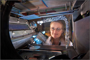 NREL Principal Investigator Cheryl Kennedy first helped develop reflective coatings for concentrated solar power with 3M when she joined the Laboratory in the 1980s.  Credit: Pat Corkery