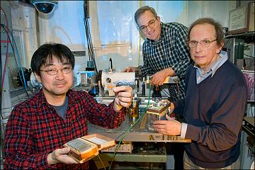 (From left) Brookhaven Lab chemists Kotaro Sasaki, Miomir Branko Vukmirovic, and Radoslav Adzic work on developing catalysts for fuel cells.