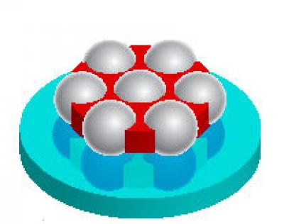 Heptamers containing seven nanoshells have unique optical properties. Credit: Rice University