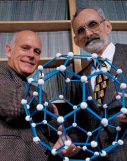 Richard Smalley, left, and Robert Curl won the Nobel Prize for the discover of buckminsterfullerene.